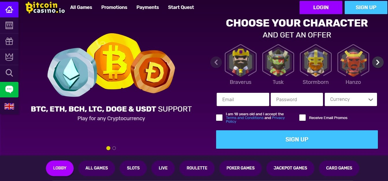 bitcoincasino.io homepage