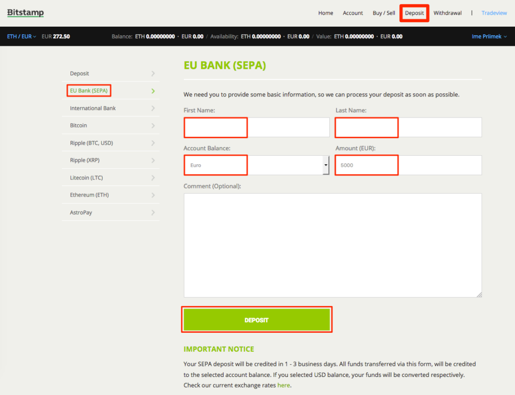Deposit Funds Bitstamp