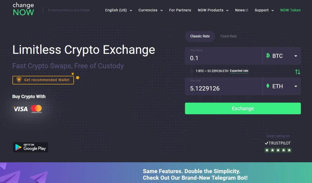 change NOW exchange
